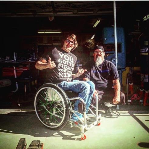 Sean Mahaney bei der Auslieferung meines Heavy Beauty WCMX Rollstuhls